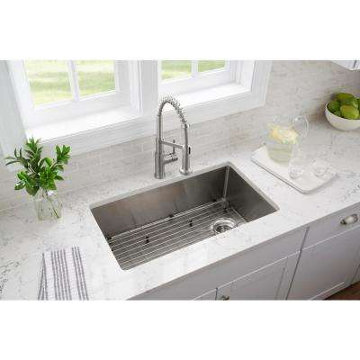 All-in-One Tight Radius Stainless Steel 33 in. 18-Gauge Single Bowl Dual Mount Kitchen Sink with Spring Neck Faucet