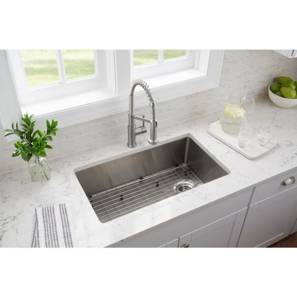 Glacier Bay All In One Tight Radius Stainless Steel 33 In 18 Gauge Single Bowl Dual Mount Kitchen Sink With Spring Neck Faucet Vdr3322a1 The Home Depot