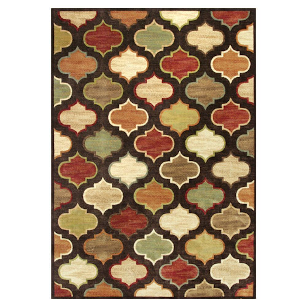 Kas Rugs Let's Go Morocco Brown/Green 5 ft. x 8 ft. Area Rug
