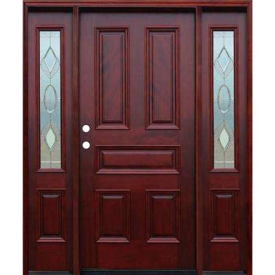 strathmore traditional 5 panel stained mahogany wood prehung front door w6in wall series