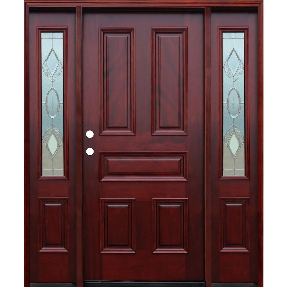 70in.x80in. Strathmore Traditional 5-Panel Stained Mahogany Wood Prehung Front