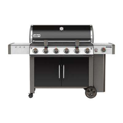 Genesis II LX E-640 6-Burner Propane Gas Grill in Black with Built-In Thermometer and Grill Light