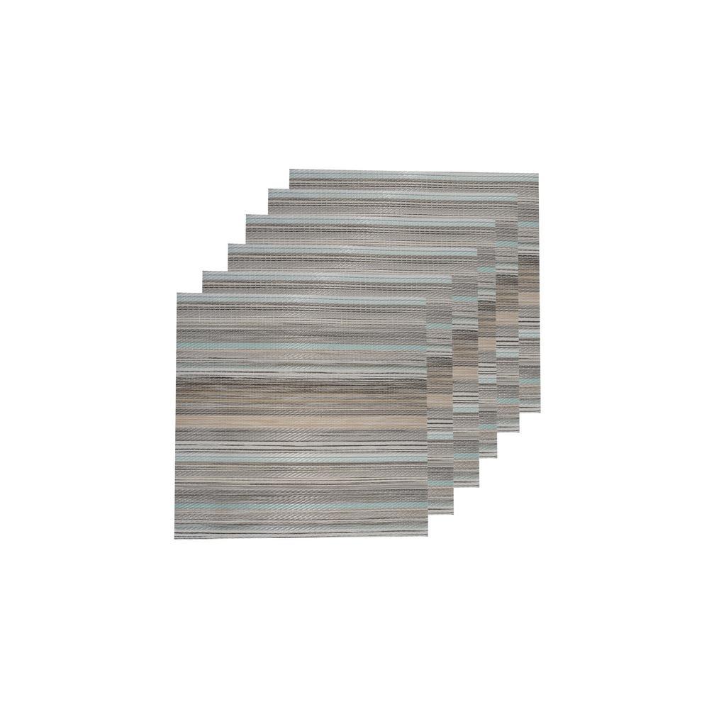 Multistripes Multi-Color Woven Textilene Reversible Square Placemats (Set of 6)