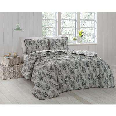 Ciara 3-Piece Black/White/Grey Queen Quilt Set