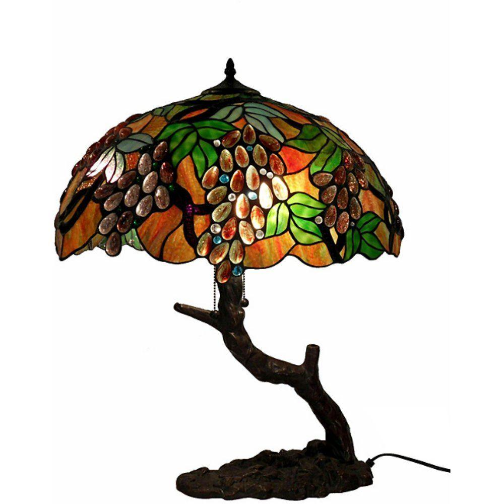 Marvelous Tree Grape Multicolored Brown Table Lamp