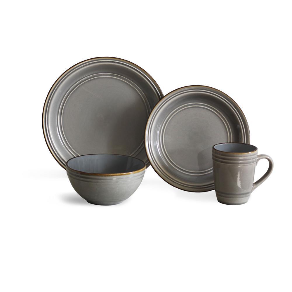 Allure 16-Piece Grey Dinnerware Set