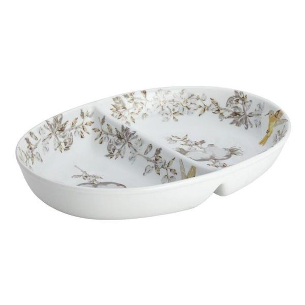 BonJour Dinnerware Fruitful Nectar Porcelain Stoneware 11 in. Divided Dish 50912