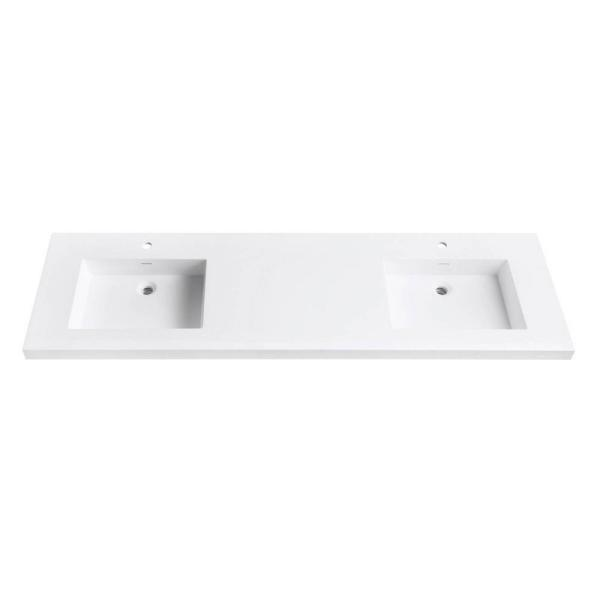 VersaStone 73 in. Solid Surface Vanity Top with Integrated Double 22 in. Deep Bowl in Matte White