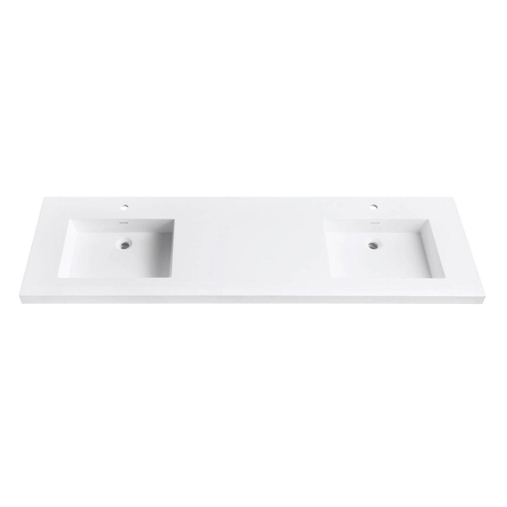 Attirant Solid Surface Vanity Top With Integrated Double 22 In. Deep