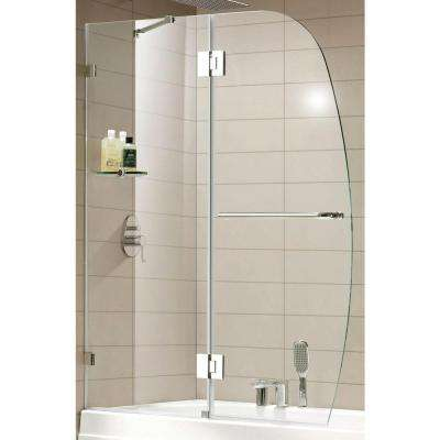 Aurora Lux Premium 48 in. x 58 in. Frameless Pivot Shower Door in Chrome with Shelf and Tempered Clear Glass