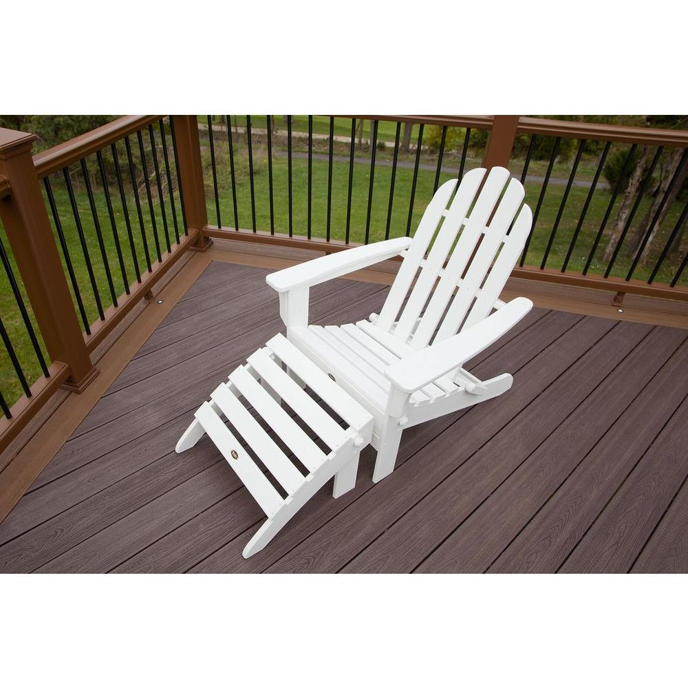 Trex Outdoor Furniture Cape Cod Classic White 2 Piece Folding Plastic Adirondack Chair Txs116 1