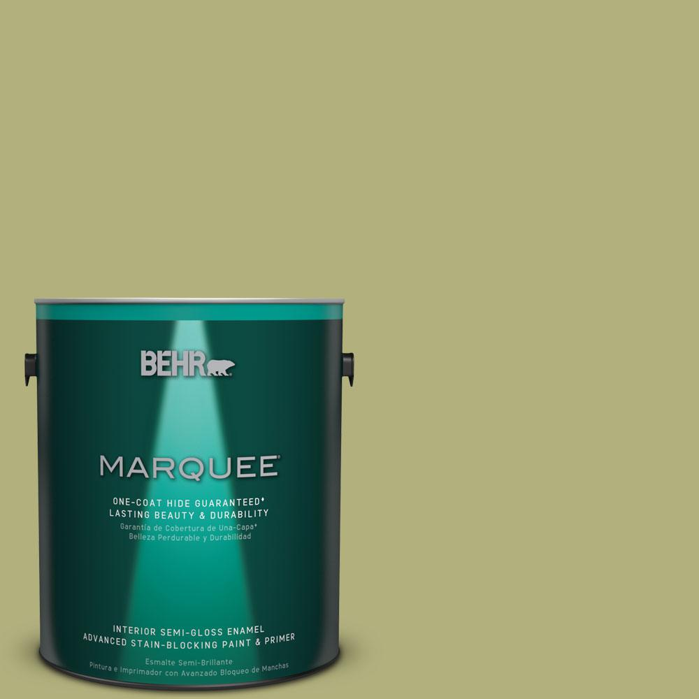 1 gal. #M340-5 Fresh Artichoke One-Coat Hide Semi-Gloss Enamel Interior Paint