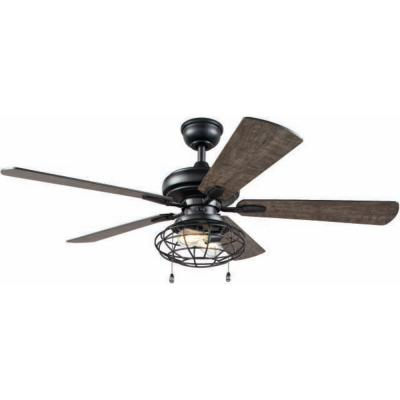 Ellard 52 in. LED Indoor Matte Black Ceiling Fan with Light