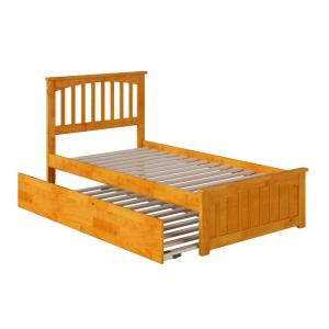 Mission Caramel Twin Platform Bed with Matching Foot Board with Twin Size Urban Trundle Bed