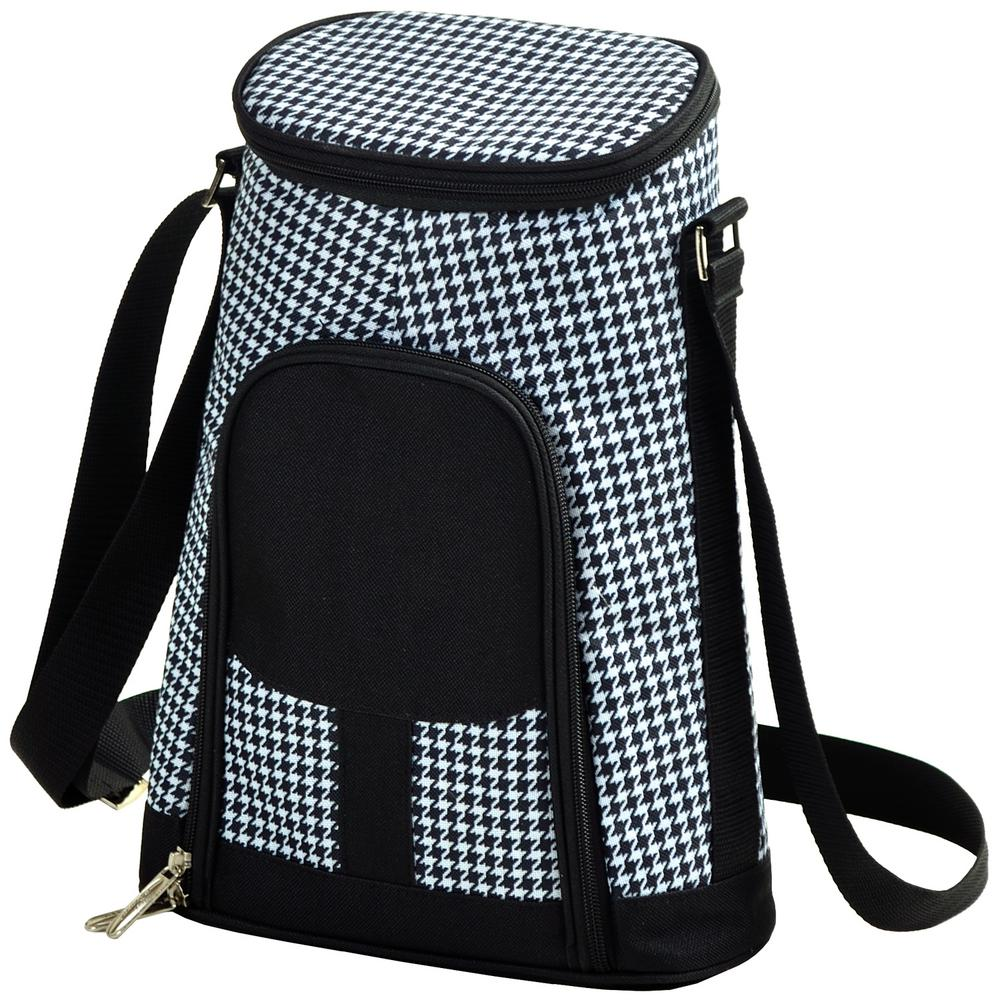 2-Bottle Houndstooth Insulated Wine Tote and Cheese Set