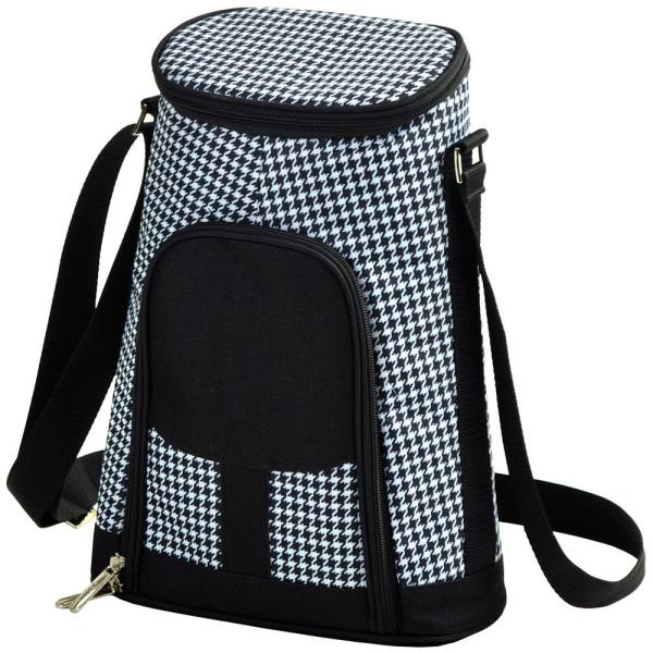 2-Bottle Houndstooth Insulated Wine Tote and Cheese Set 398-HT