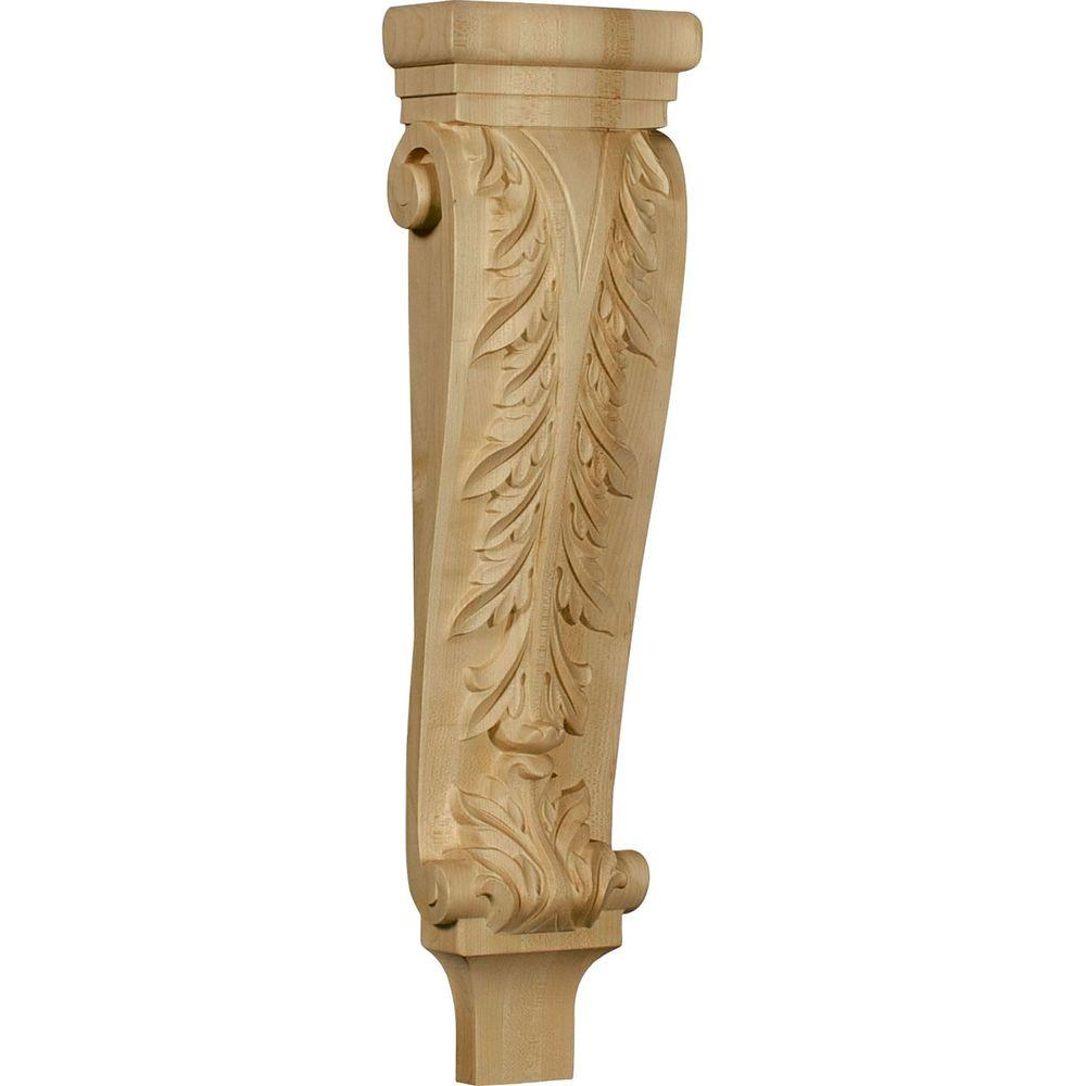 Ekena Millwork 3 in. x 6-1/4 in. x 22 in. Unfinished Wood Red Oak Large Acanthus Pilaster Corbel