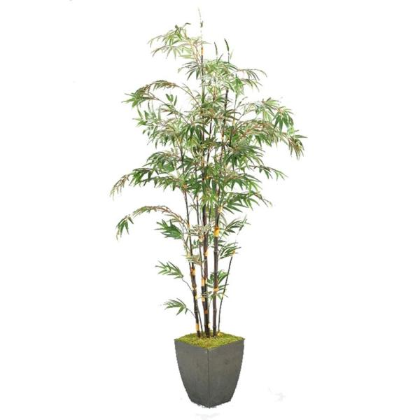 D&W Silks Indoor 8 ft. Bamboo Tree in Square Metal Planter