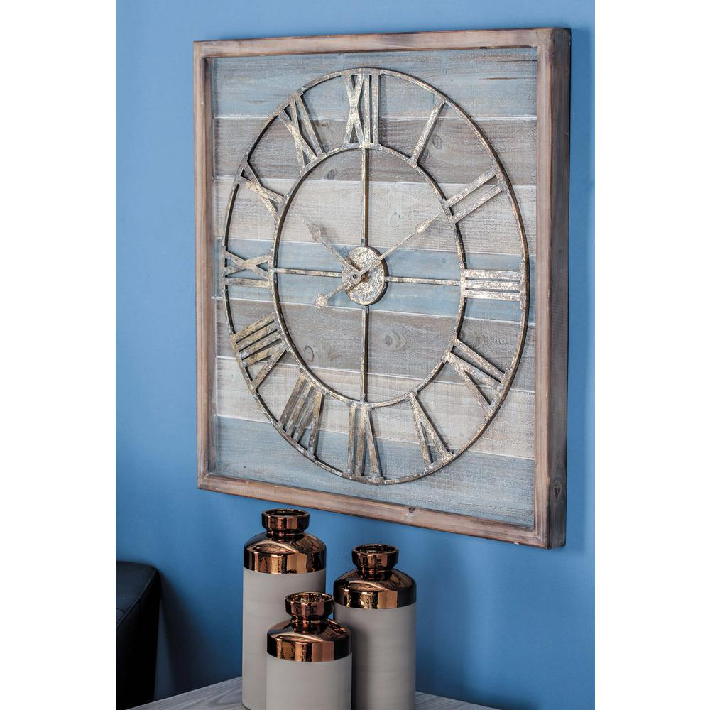 litton lane rustic wall clock in distressed wood-44444 - the home depot