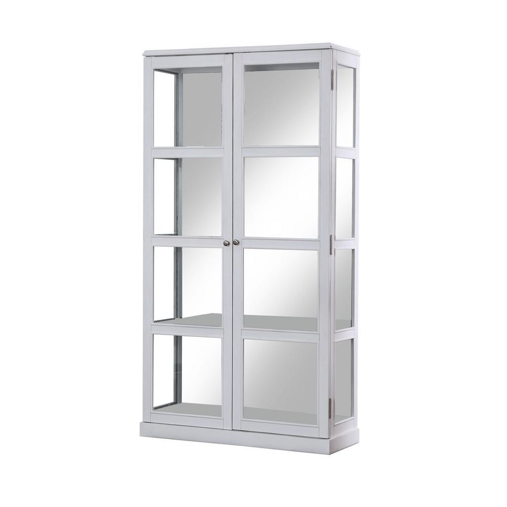 Jones White China Cabinet with Window-Panel Doors