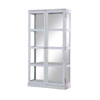 Jones White China Cabinet With Window Panel Doors