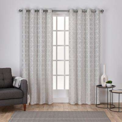 Cressy 54 in. W x 96 in. L Jacquard Grommet Top Curtain Panel in Dove Gray (2 Panels)