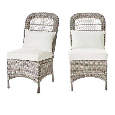 Beacon Park Gray Wicker Outdoor Patio Armless Dining Chair with Bare Cushions (2-Pack)