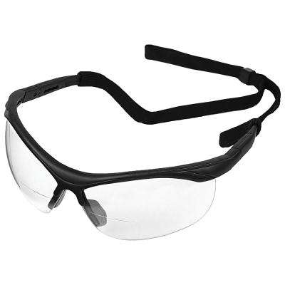2.5 Power X Bifocal Safety Glasses, Black Frame and Clear Lens