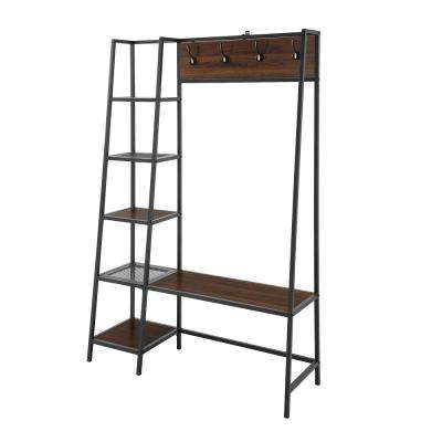72 in. Dark Walnut Angled Side Hall Tree with Storage