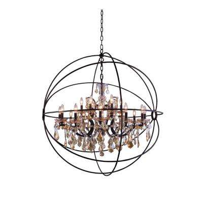 Geneva 18-Light Dark Bronze Chandelier with Golden Teak Smoky Crystal