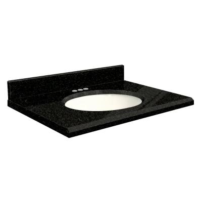 25 in. W x 22 in. D Granite Vanity Top in Absolute Black with White Basin