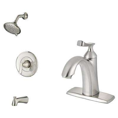 Chatfield Single-Handle 3-Spray Tub and Shower Faucet and Two Single Hole Bathroom Faucets in Brushed Nickel
