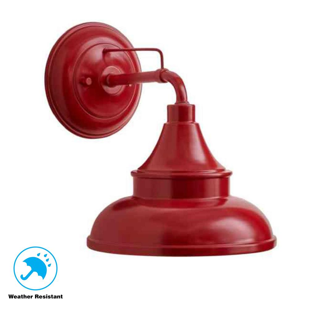Hampton Bay Colonial Red Outdoor Barn Light Wall Mount Sconce