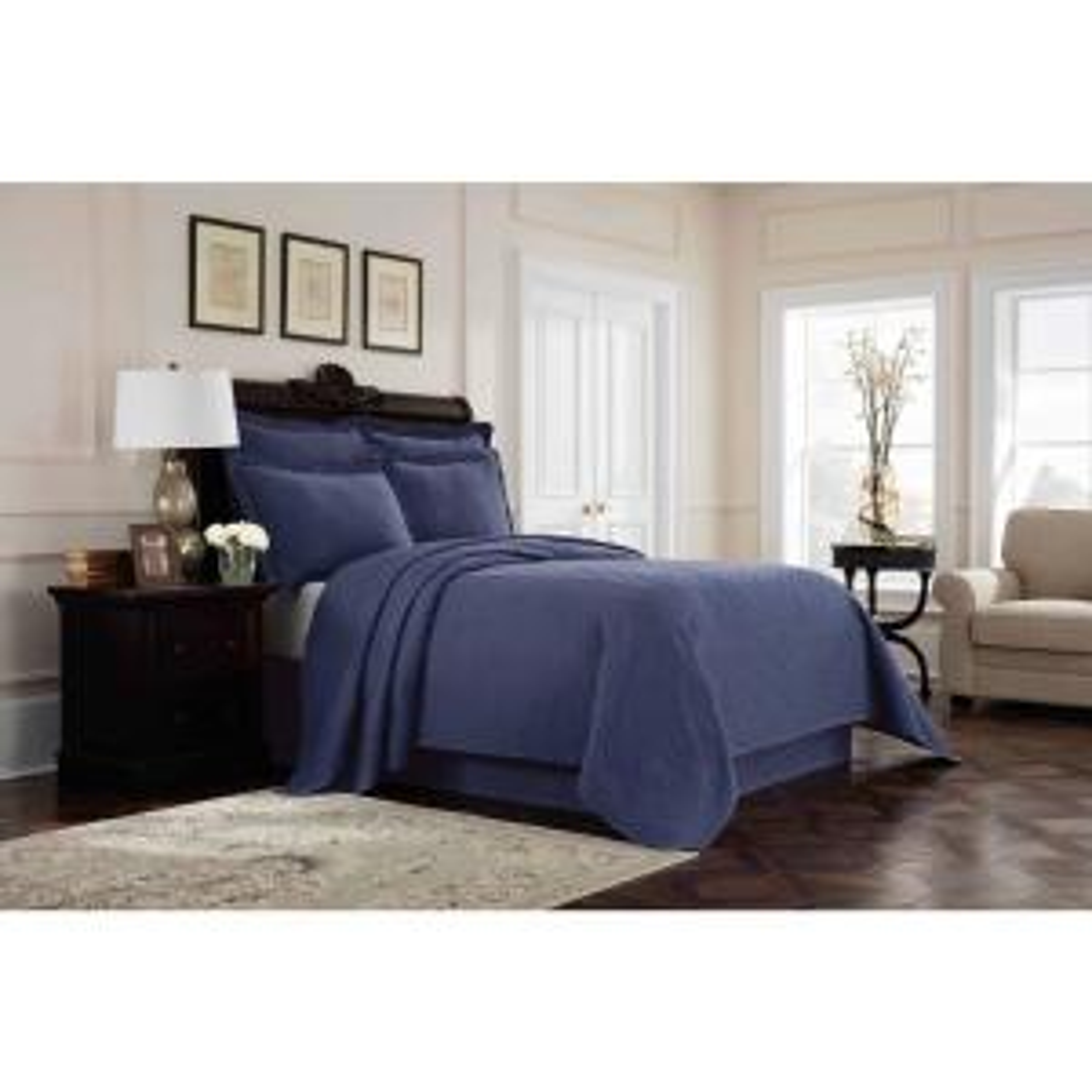 Williamsburg Richmond Blue Solid Full Bed Skirt