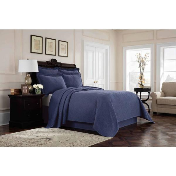 Royal Heritage Home Williamsburg Richmond Blue Queen Coverlet 048975018637