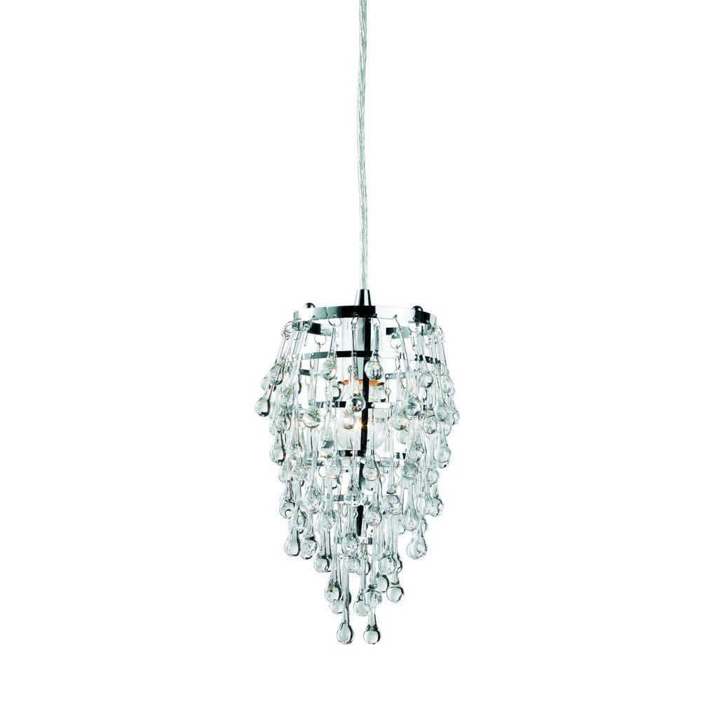 Eurofase Vidal Collection 1-Light Chrome and Clear Pendant
