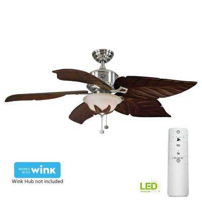 Antigua Plus 56 in. LED Brushed Nickel Smart Ceiling Fan with Light Kit and WINK Remote Control