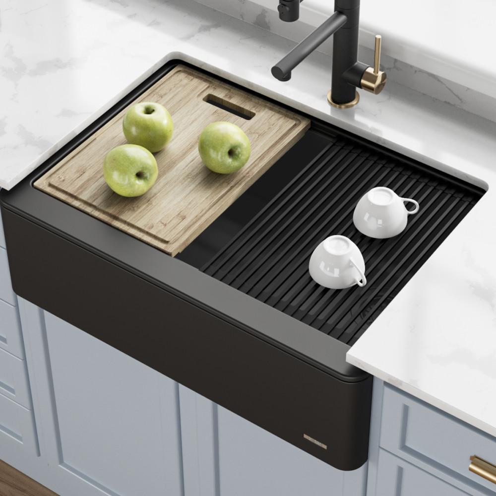 Bellucci Farmhouse/Apron-Front Granite/Quartz Composite 30 in. Single Bowl Kitchen Sink with Cutting Board in Black