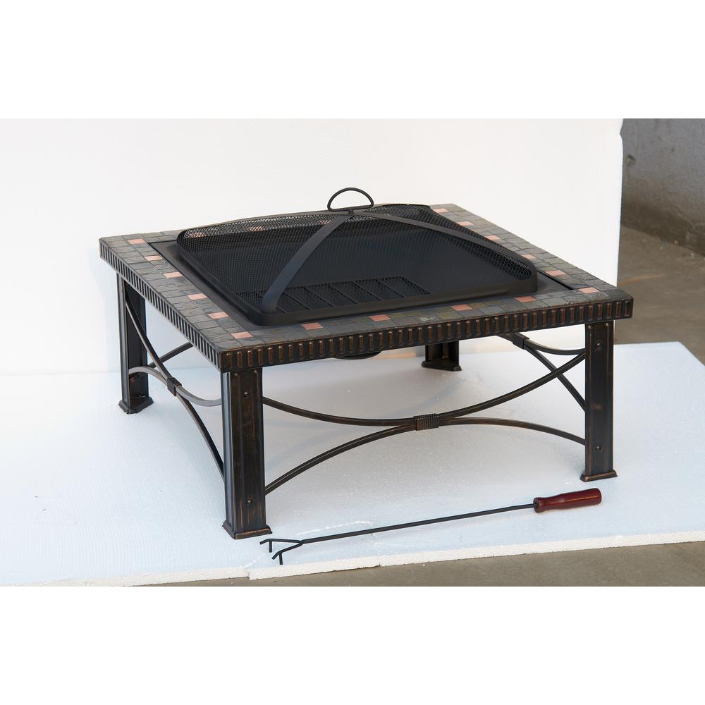 Hiland 30 in. x 19.5 in. Square Slate Tile Fire Pit