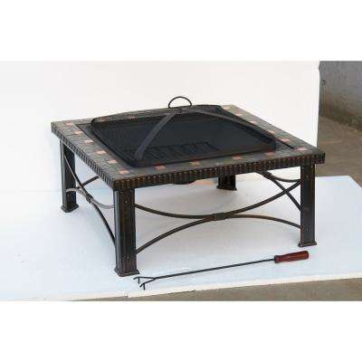 30 in. x 19.5 in. Square Slate Tile Fire Pit