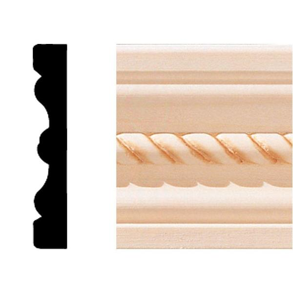 1/2 in. x 3 in. x 7 ft. Hardwood Rope Flute Casing/Chair Rail Moulding