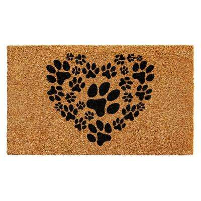 Heart Paws 24 in  x 36 in  Door Mat