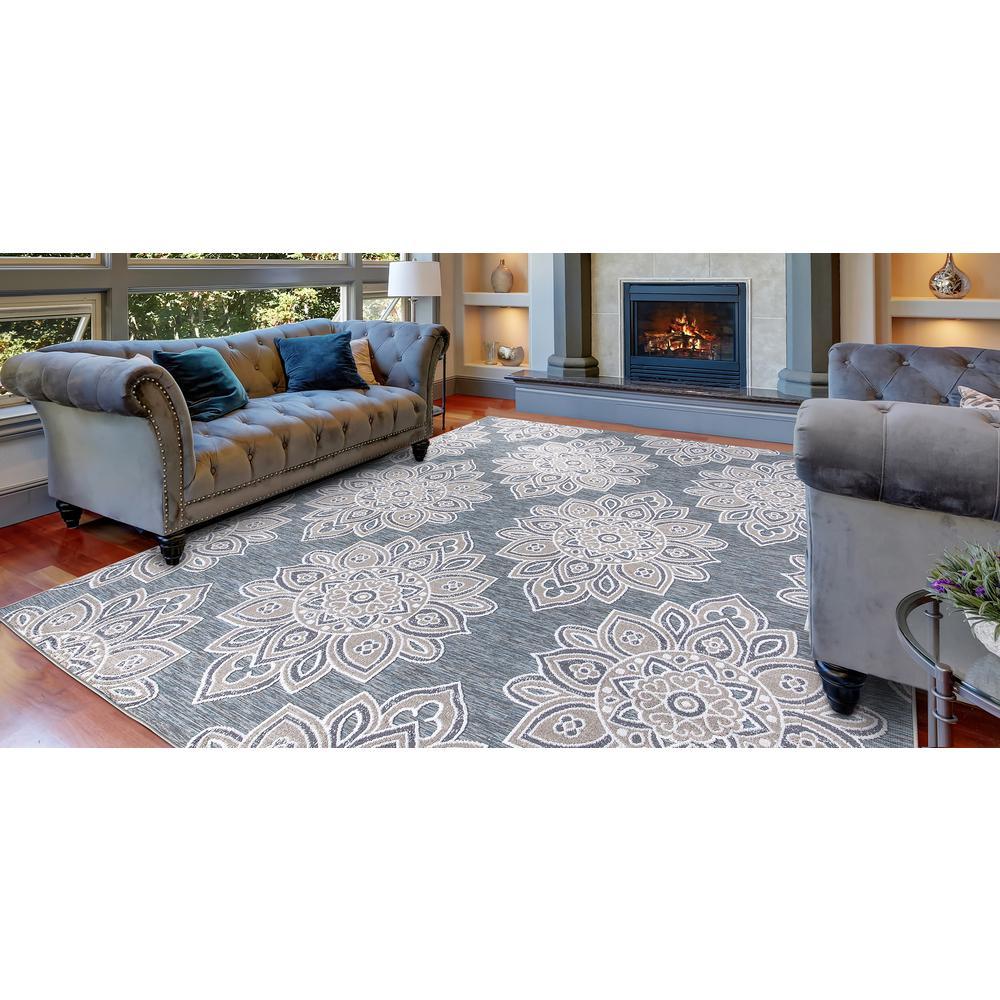 Lara Blue 5 ft. x 7 ft. Geometric Indoor/Outdoor Area Rug