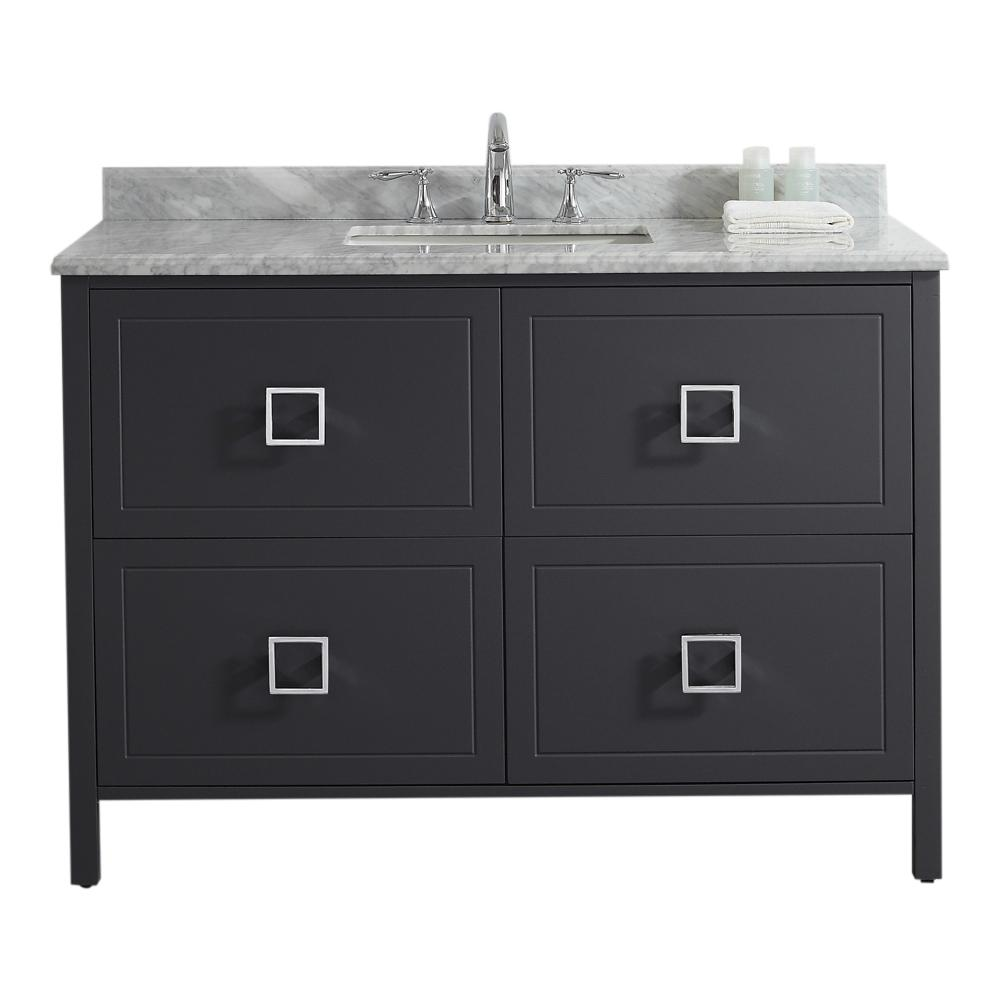 Home Decorators Collection Drexel 48 in. W Vanity in Charcoal with Marble Vanity Top in White with White Sink