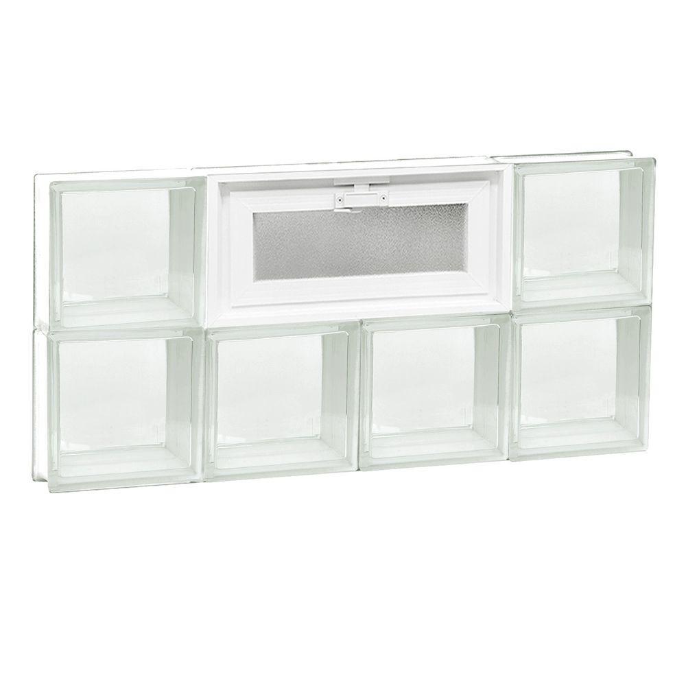 31 in. x 15.5 in. x 3.125 in. Frameless Vented Clear Glass Block Window