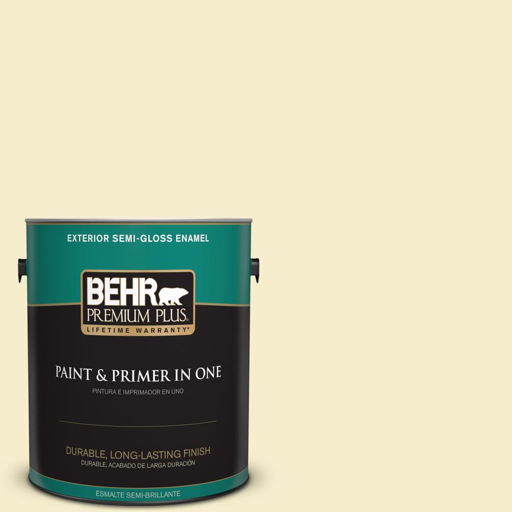 BEHR Premium Plus 1-gal. #ECC-11-1 Daybreak Sun Semi-Gloss Enamel Exterior Paint
