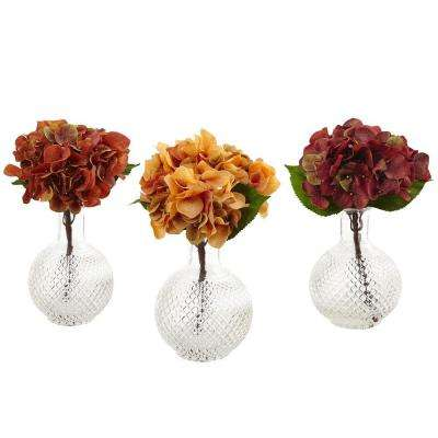 12 in. Autumn Hydrangea with Vase (Set of 3)
