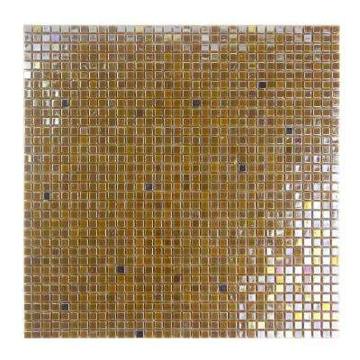 Beige Taupe Mosaic 0.25 in. x 0.25 in. Iridescent Glass Mesh Mounted Decorative Bathroom Wall & Floor Tile (0.98 Sq.Ft)
