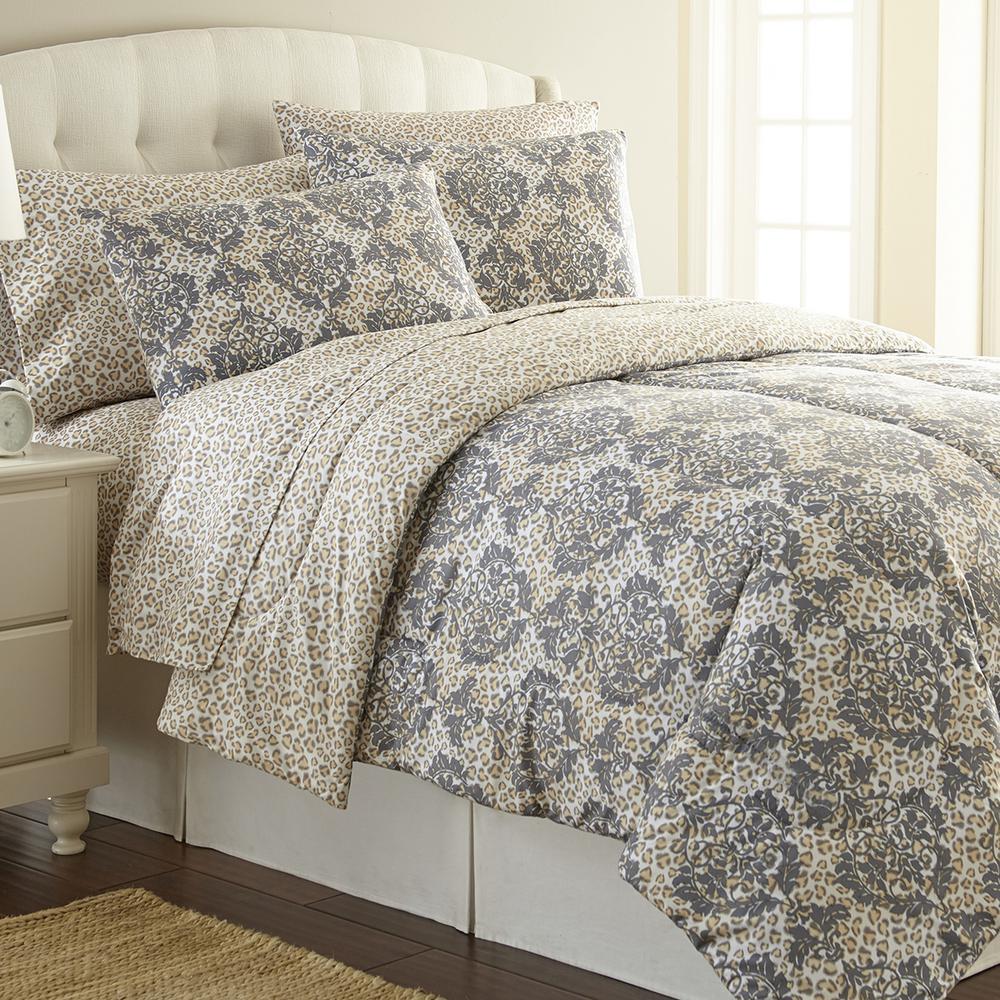 Micro Flannel Leopard Full Queen 4 Piece Comforter Set