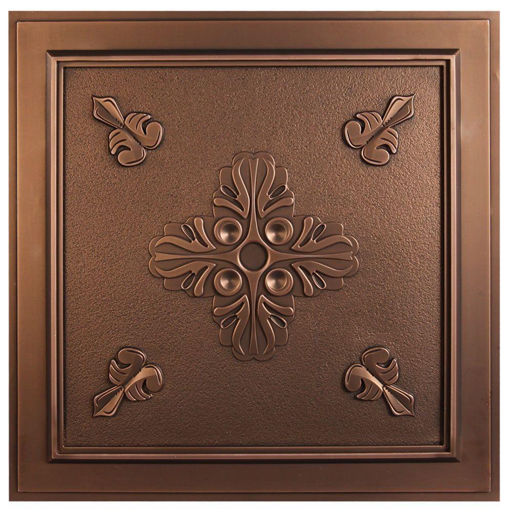 uDecor Belfast 2 ft. x 2 ft. Lay-in or Glue-up Ceiling Tile in Antique Bronze (40 sq. ft. / case)